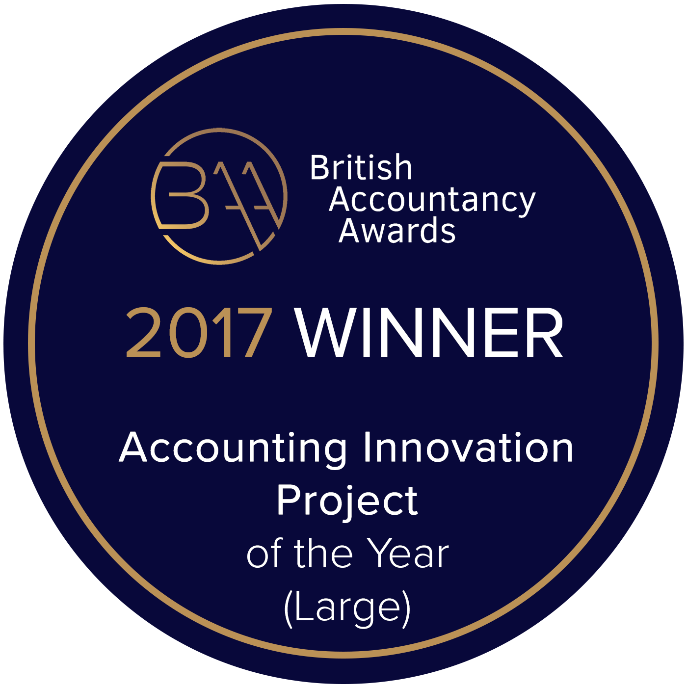 BAA2017 - BAA winner badge - Accounting innovation - Large